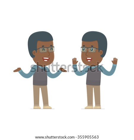 Funny Character African American Teacher tells interesting story to his friend. Poses for interaction with other characters from this series - stock vector