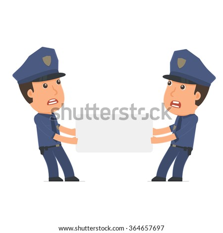 Funny Character Officer holds and interacts with blank forms or objects. Poses for interaction with other characters from this series - stock vector