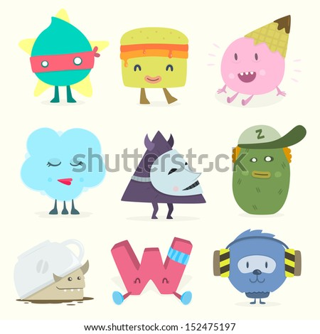 funny characters - stock vector