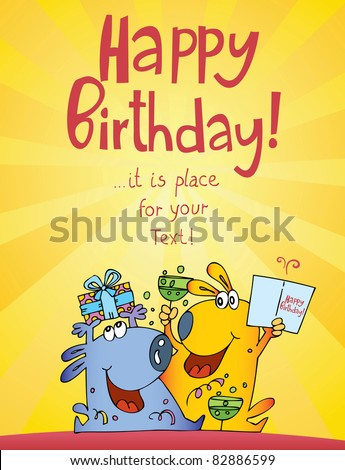 funny characters birthday cards - stock vector