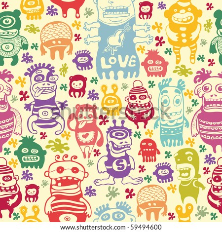 funny characters ornament, seamless vector pattern. - stock vector