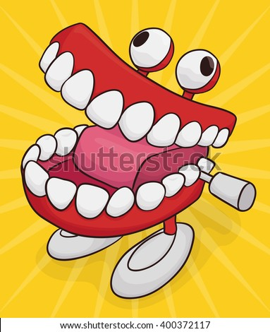 Funny chattering teeth toy with googly eyes and feet isolated in yellow background. - stock vector