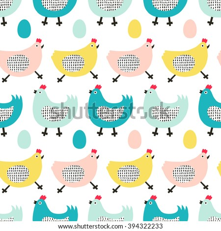 Funny chicken seamless pattern. Kid design. Surface decoration. Vector illustration.  - stock vector