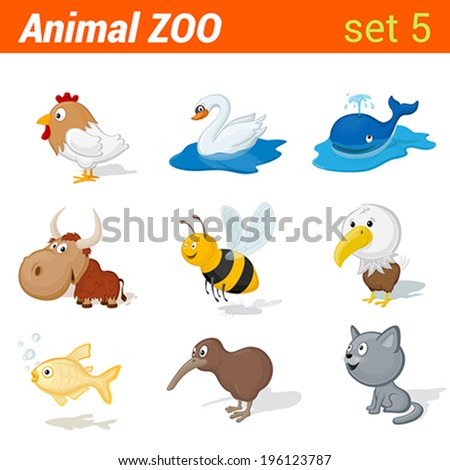 Funny children animals icon set. Kid language learning elements. Rooster, swan, whale, yak, bee, eagle, golden fish, kiwi bird, cat.  Animal Zoo collection. - stock vector