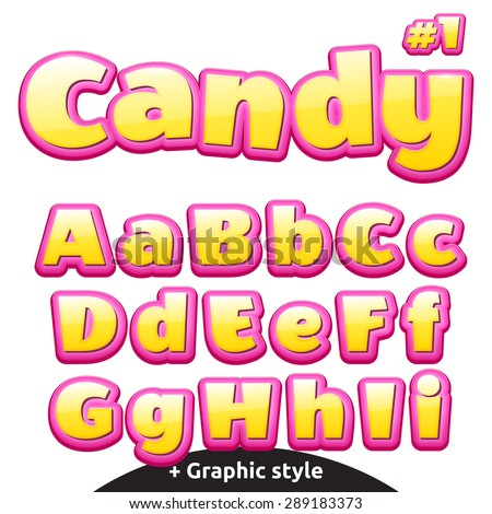 Funny children's candy letters.  - stock vector