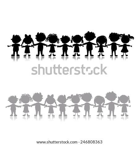 Funny children, sketch for your design. Vector illustration - stock vector