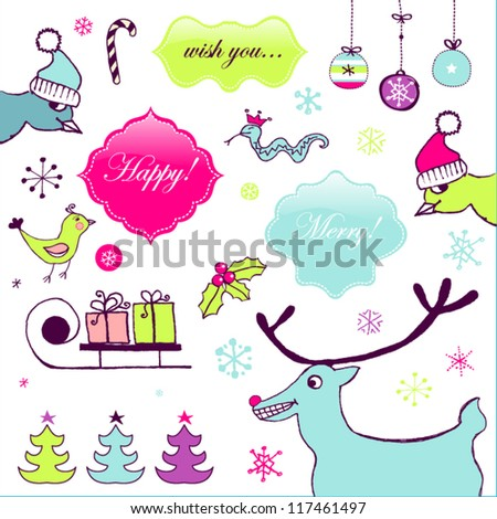 Funny Christmas animals - stock vector