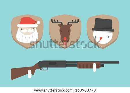funny christmas background, vector - stock vector
