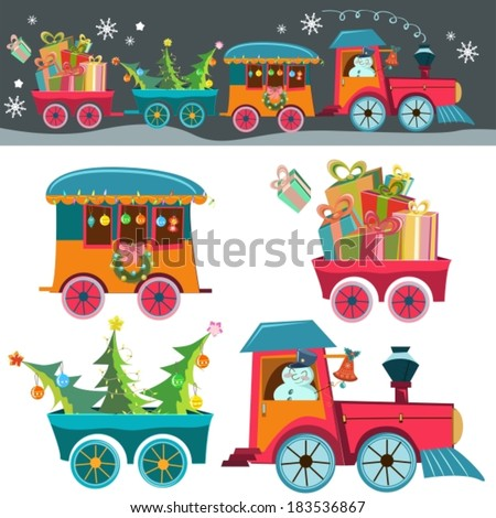 Funny Christmas background with a toy train with gifts, snowman and christmas tree, retro cartoon illustration, VECTOR - stock vector