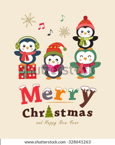 Funny christmas card and poster design. Cute animals. Vector illustration. - stock vector