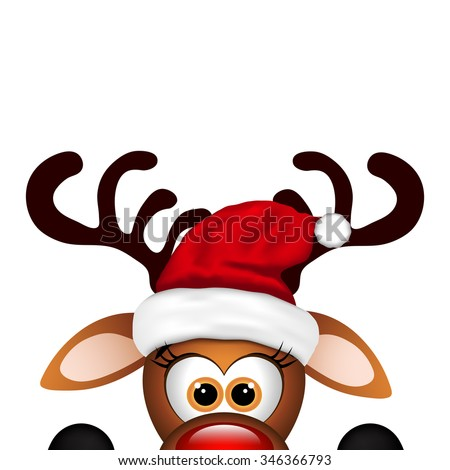 Funny Christmas Reindeer  - stock vector