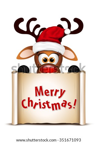 Funny Christmas Reindeer. Christmas card design template. Vector illustration. - stock vector