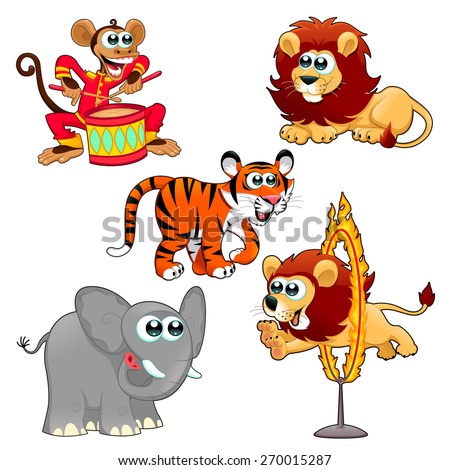 Funny circus animals. Cartoon vector isolated characters. - stock vector