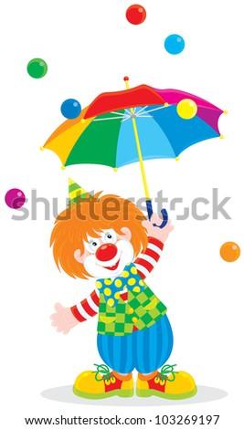 funny circus clown holding an open multicolor umbrella in the rain of small color balls - stock vector