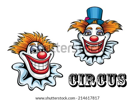 Funny circus happy cartoon clowns characters with hat and ball nose. For circus and entertainment design - stock vector