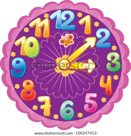 Funny clock - stock vector