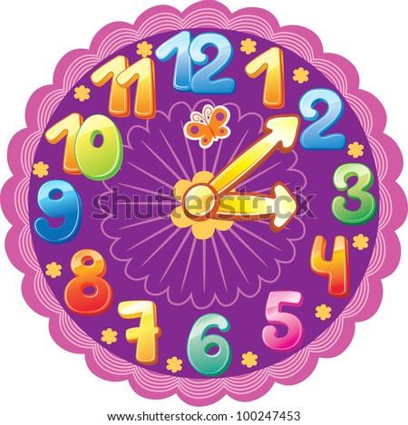 Funny clock - stock vector