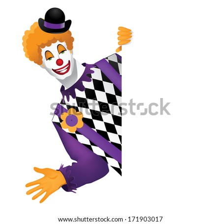 Funny Clown Behind Whiteboard. EPS 10 vector, grouped for easy editing. No open shapes or paths. - stock vector