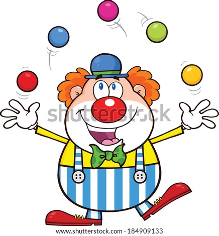 Funny Clown Cartoon Character Juggling With Balls. Vector Illustration Isolated on white - stock vector