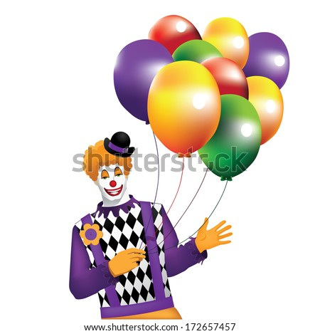 Funny Clown With Balloons Isolated on White. EPS 10 vector, grouped for easy editing. No open shapes or paths. - stock vector