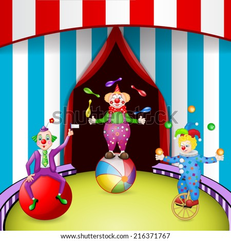 Funny clowns at the circus festival - stock vector