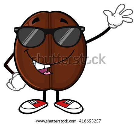 Funny Coffee Bean Cartoon Mascot Character With Sunglases Waving. Vector Illustration Isolated On White - stock vector