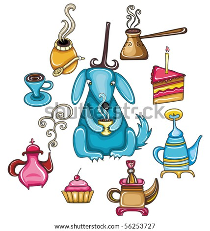 Funny, coffee, mate, tea, set with cute dog - stock vector