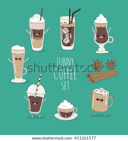 Funny coffee set. Friend forever. Vector illustration. Comic character  - stock vector
