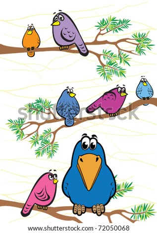 Funny colored birds and crow on a branch - stock vector
