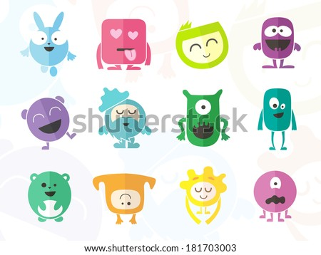Funny Colored Characters - stock vector