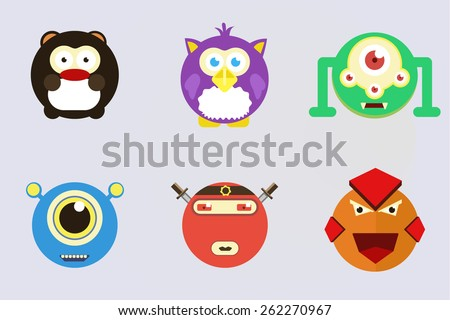 Funny colored characters. Animal icon set. Vector illustration. - stock vector