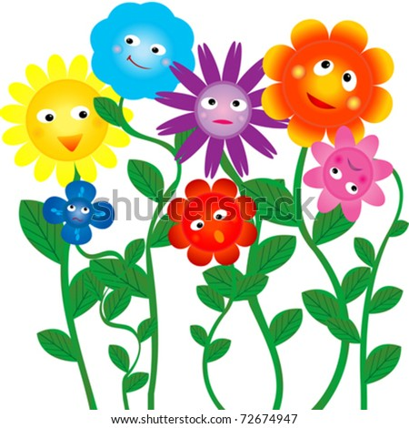 funny colored flowers on white background - stock vector
