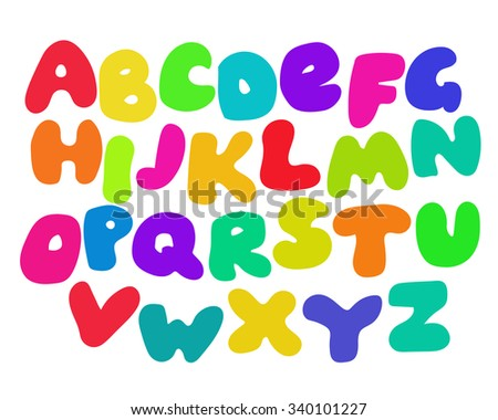 Funny Colorful Alphabet poster for children. Cute cartoon alphabetic letters in vibrant rainbow colors. Bold font abc, rounded type for birthday greeting, baby shower card. Vector alphabet, eps10. - stock vector