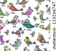 Funny colorful birds, seamless pattern for your design - stock vector