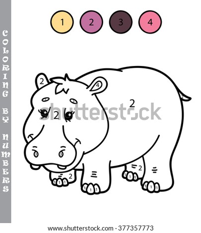 funny coloring by numbers game. Vector illustration coloring by numbers game with cartoon hippo for kids - stock vector
