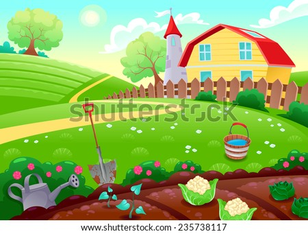 Funny countryside scenery with vegetable garden. Cartoon vector illustration - stock vector