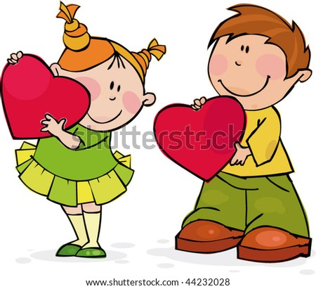 Funny couple with big red hearts - stock vector