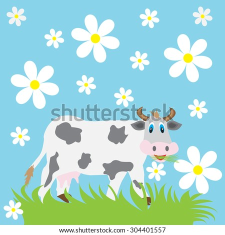 funny cow eating grass on a blue background with daisies - stock vector
