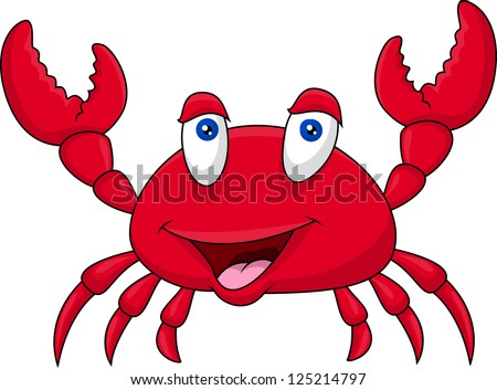 Funny crab cartoon - stock vector