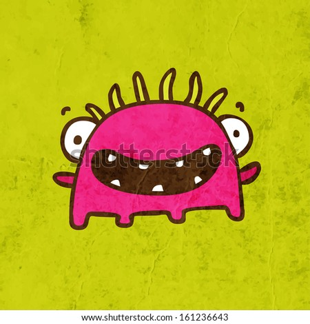 Funny Creature. Cute Hand Drawn Vector illustration, Vintage Paper Texture Background - stock vector