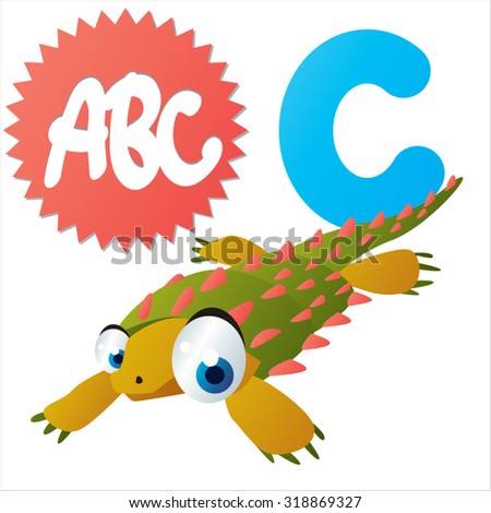 Funny Cute Animals ABC: Swimming Dinos: C  is for Cyamodus - stock vector