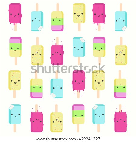 Funny cute emotional cartoon ice cream set. Can be used as t-shirt print or cafe logo. Easy to recolor and edit - stock vector