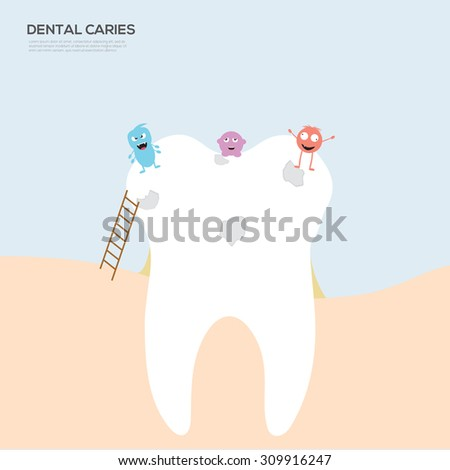 Funny cute flat style tooth dental with monster cartoon set. - stock vector