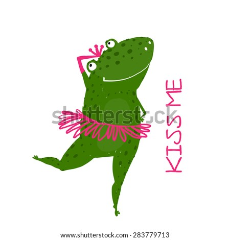 Funny Cute Frog with Crown Dancing. Green fairy tale frog asking for a kiss hand drawn illustration.  - stock vector