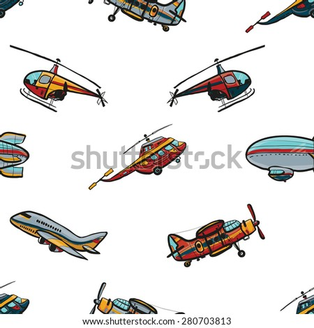 Funny cute hand drawn kids toy aeronautic transport. Baby bright cartoon chopper, helicopter, biplane, airship, plane vector seamless pattern on white background. Set of isolated elements. Chess grid. - stock vector