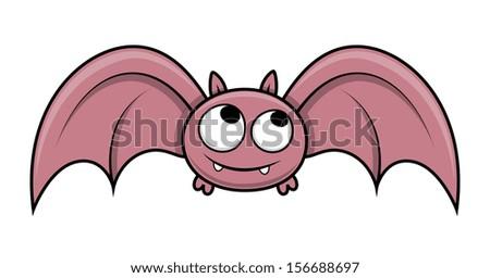 funny cute small bat - Halloween vector illustration - stock vector