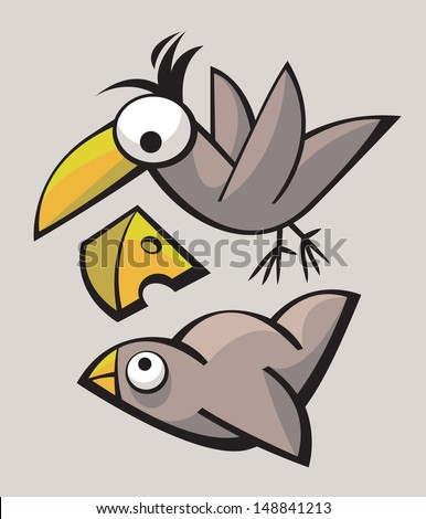 Funny cute stylized birds playing and flying - stock vector