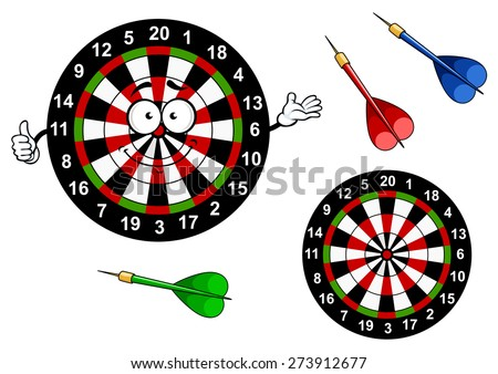 Funny dartboard target cartoon character with bright colored segments and darts arrows showing thumb up gesture for sports or leisure design - stock vector