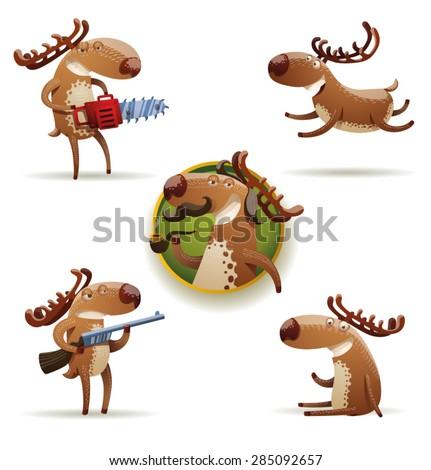 funny deers set, vector - stock vector