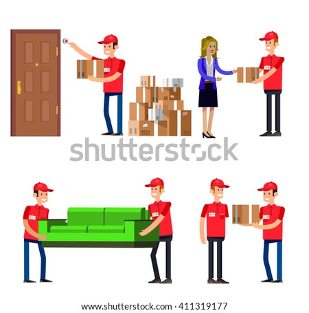 Funny Delivery character man. Delivery fast to the door and by courier flat set. - stock vector